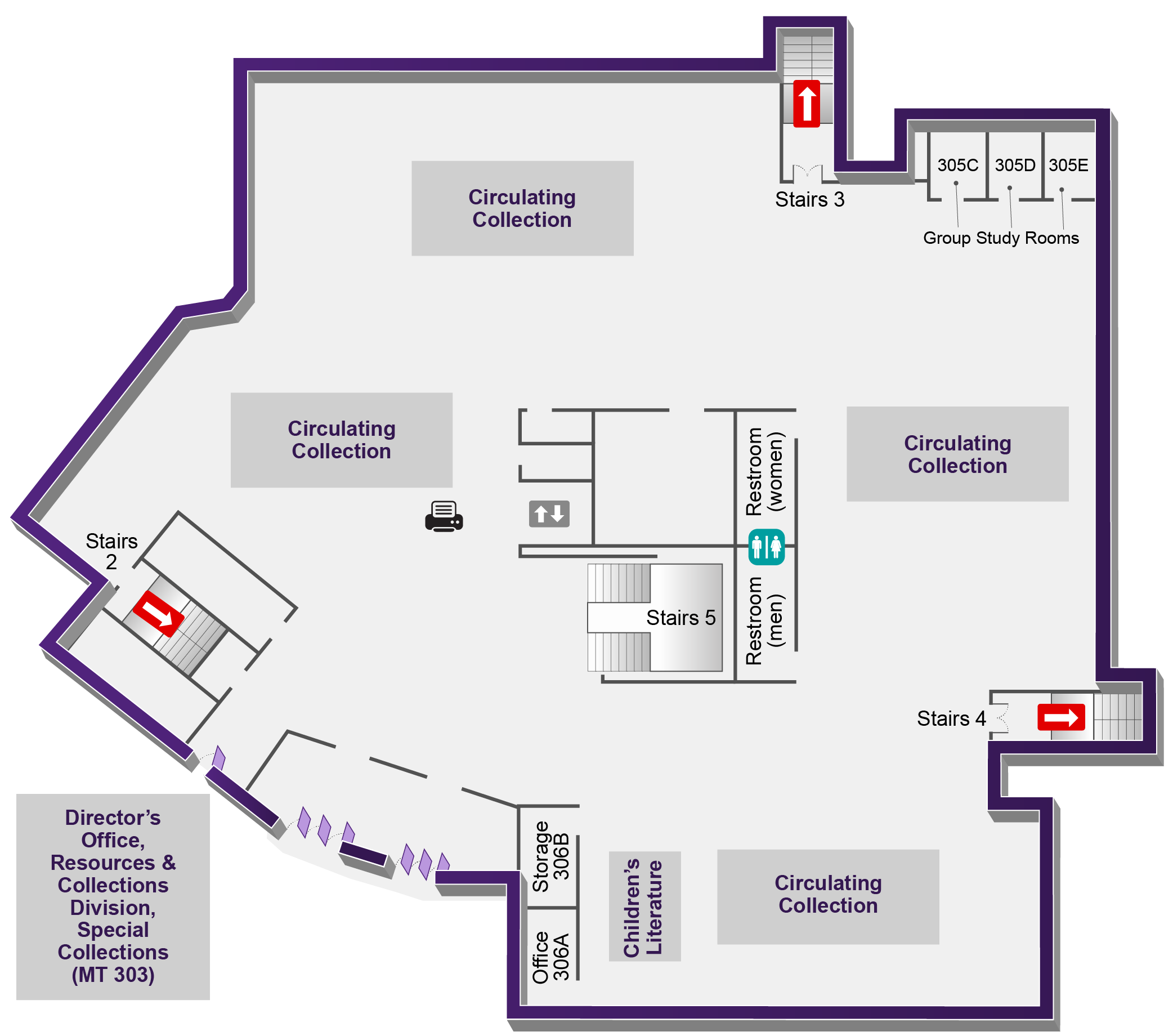 Map of the thrid floor of Germantown Campus library.