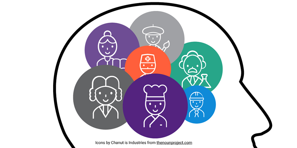 Illustration of a head profile with different career icons where the brain would go, such as a scientist, chef, artist, doctor, etc.