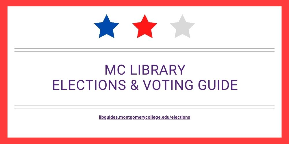 "Decorative image. Text reads ""MC Library Elections and Voting guide."""