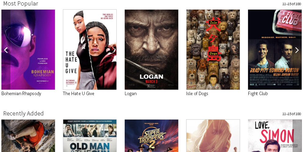 Screenshot of Feature Films database homepage showing posters of popular films.